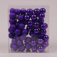 Кульки скляні 3 см. фіолетові (6 пучків-72 кульки) 40229
