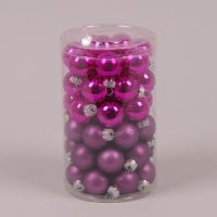 Кульки скляні 2,5 см. фуксія (48 шт.) 40239