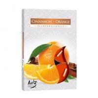Свеча чайная таблетка ароматическая Bispol Корица-Апельсин D-3,9 см. 6 шт. 27335