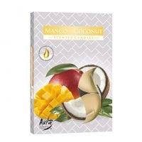 Свеча чайная таблетка ароматическая Bispol Манго-Кокос D-3,9 см. 6 шт. 27341