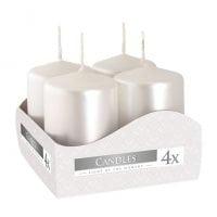 Комплект жемчужных свечей Bispol Цилиндр 4х6 см. (4 шт.) 27368