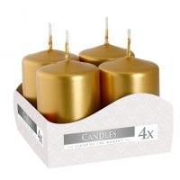 Комплект золотых свечей Bispol Цилиндр 4х6 см. (4 шт.) 27369