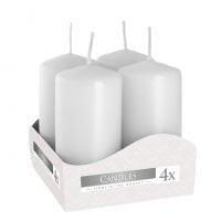 Комплект білих свічок Bispol Циліндр 4х8 см. (4 шт.) 27371