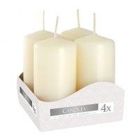 Комплект кремовых свечей Bispol Цилиндр 4х8 см. (4 шт.) 27372