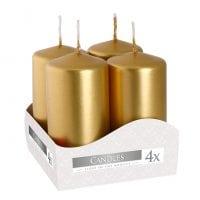 Комплект золотых свечей Bispol Цилиндр 4х8 см. (4 шт.) 27374