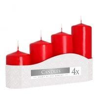 Комплект красных свечей Bispol Цилиндр 5х7,9,11,13 см. (4 шт.) 27378