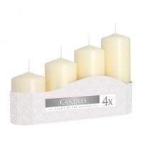 Комплект кремовых свечей Bispol Цилиндр 5х7,9,11,13 см. (4 шт.) 27379