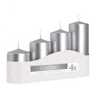 Комплект серебряных свечей Bispol Цилиндр 5х7,9,11,13 см. (4 шт.) 27380