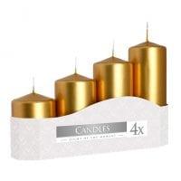 Комплект золотых свечей Bispol Цилиндр 5х7,9,11,13 см. (4 шт.) 27381