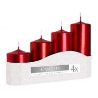 Комплект красных свечей Bispol Цилиндр 5х7,9,11,13 см. (4 шт.) 27382