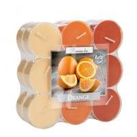 Свеча чайная таблетка ароматическая Bispol микс Апельсин D-3,8 см. 18 шт. 27384