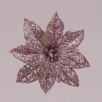 Головка Пуансеттии на прищепке розовая 75603