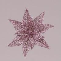 Головка Пуансеттии на прищепке розовая 75608
