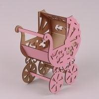 Кашпо деревянное Коляска розовое 30867