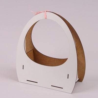 Фото Кашпо-корзинка деревянное Иллюзия белое 30868