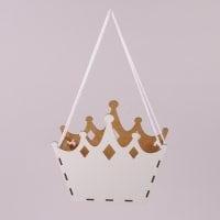 Кашпо деревянное подвесное Корона белое 30870