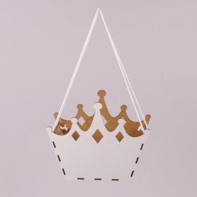 Фото Кашпо деревянное подвесное Корона белое 30870