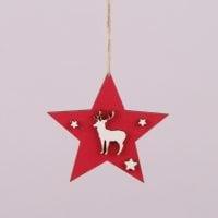 Подвеска новогодняя деревянная Звезда с оленем красная 29617