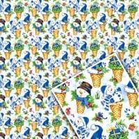 Бумага подарочная новогодняя 68 х 99 см. (1 лист.) 8004