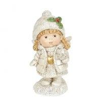 Фігурка новорічна Ангелик з сніжкою 11 см. 11734