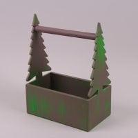 Кашпо деревянное Елки зеленое 29637