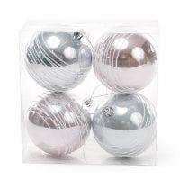 Набор пластиковых новогодних шаров 4 шт. D-8 см. 11776