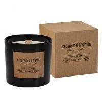 Свеча ароматическая с деревянным фитилем Bispol Cedarwood&Vanilla 27409