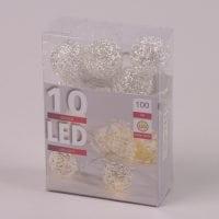 Гірлянда LED Срібні кульки тепле світло 10 світлодіодів 1 м. 40846