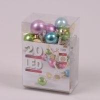 Гірлянда LED Кольорові Кульки тепле світло 20 світлодіодів 1 м. 45062