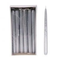 Свічка конусна Брокат Металік 25 см. срібна 27629