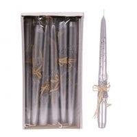 Свічка конусна Брокат Металік Натура 25 см. срібна 27631