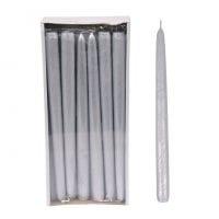 Свічка конусна Велюр Металік 30 см. срібна 27635