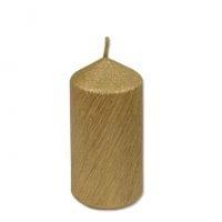 Свеча Цилиндр Велюр 5х10 см. золотая 27643