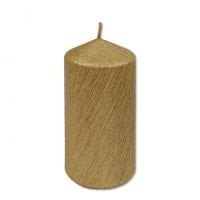 Свеча Цилиндр Велюр 6х13 см. золотая 27646