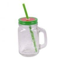 Чашка-банка с трубкой Арбуз 0,45 л. 45063