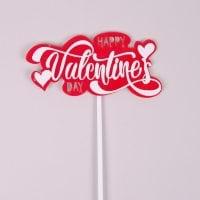 """Топер пластиковий """"Happy Valentines Day"""" червоний 33015"""