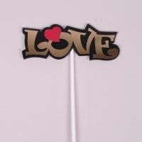 """Топер пластиковий """"Love"""" золотий (ціна за 1 шт) 33018"""