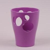 Горшок керамический Орхидейница с отверстиями глазурь фиолетовый 1.5л