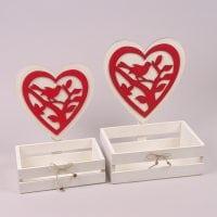 Комплект деревянных кашпо Сердце красное 2 шт. 29669