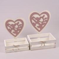 Комплект деревянных кашпо Сердце пудровое 2 шт. 29670