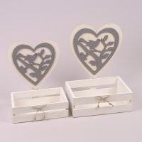 Комплект деревянных кашпо Сердце серое 2 шт. 29671