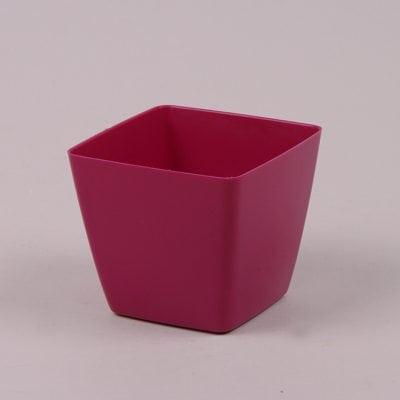 Фото Горшок пластмассовый Квадрат ДП розовый 8х8см.