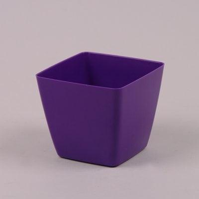 Фото Горшок пластмассовый Квадрат ДП фиолетовый 8х8см.