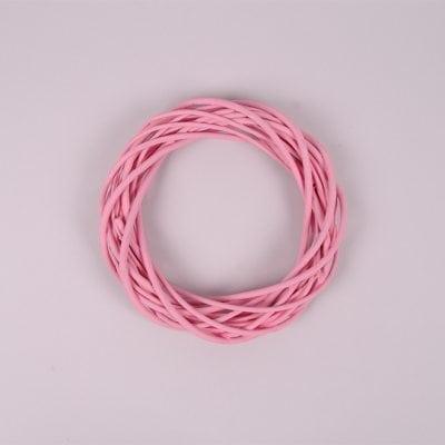 Фото Вінок з лози рожевий 20 см. 39069