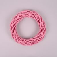 Вінок з лози рожевий 25 см. 39073