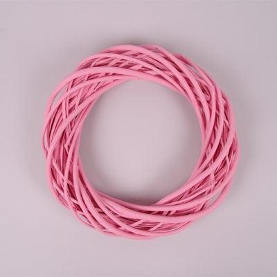 Фото Вінок з лози рожевий 30 см. 39077
