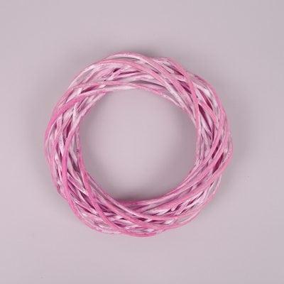 Фото Вінок з лози рожевий 25 см. 39084