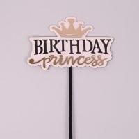 "Топпер пластиковый ""Birthday Princess"" розовый 33022"