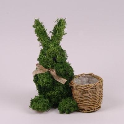 Фото Заєць декоративний з моху 25 см. 44133