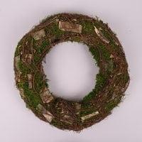 Вінок декоративний з кори і моху 35 см. 44223